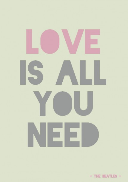 QUOTE POSTKAART LOVE IS ALL YOU NEED