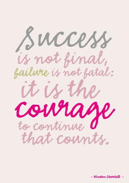 Poster Succes is not final Quote postkaart Succes is not final, falure is not fatal, it is the courage to continue that counts quote en tekst postkaart Studio inktvis_Pagina_15