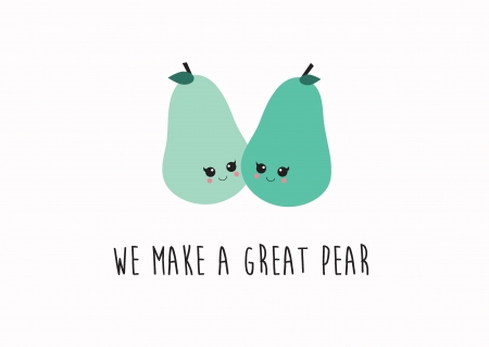POSTKAART WE MAKE A GREAT PEAR TOGETHER