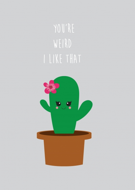 POSTKAART YOU ARE WEIRD CACTUS