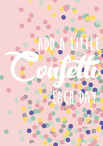 POSTKAART AD A LITTLE CONFETTI EACH DAY