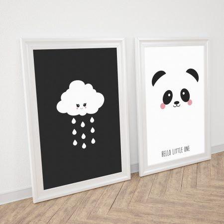 Cloud and Panda poster black and white