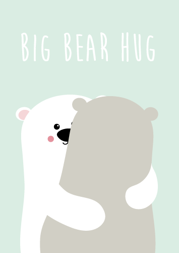 POSTKAART BIG BEAR HUG