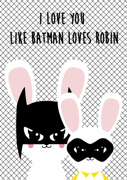 POSTKAART BATMAN LOVES ROBIN