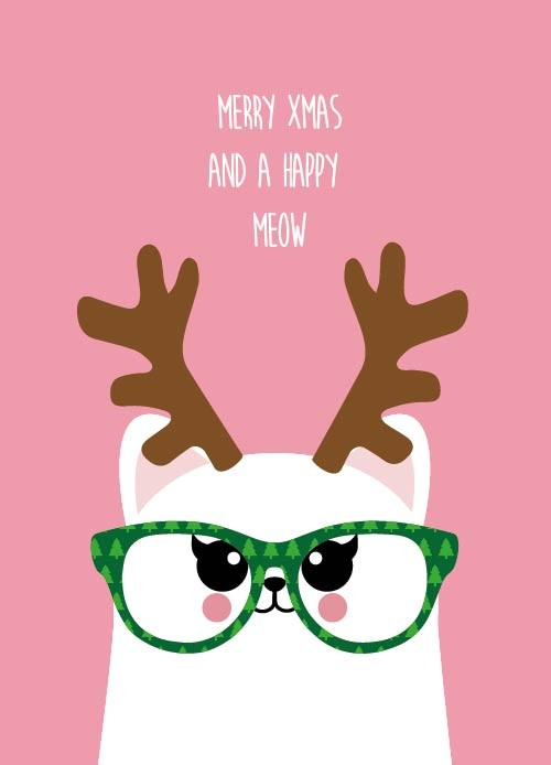 POSTKAART MERRY CHRISTMAS AND A HAPPY MEOW