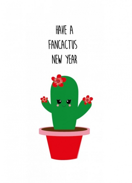 POSTKAART HAVE A FANCACTUS NEW YEAR