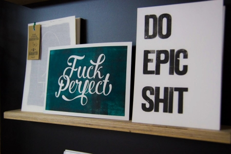 fuck perfect A5 letterpress art print