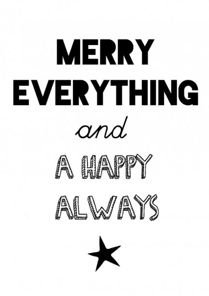 KERSTKAART MERRY EVERYTHING AND A HAPPY ALWAYS