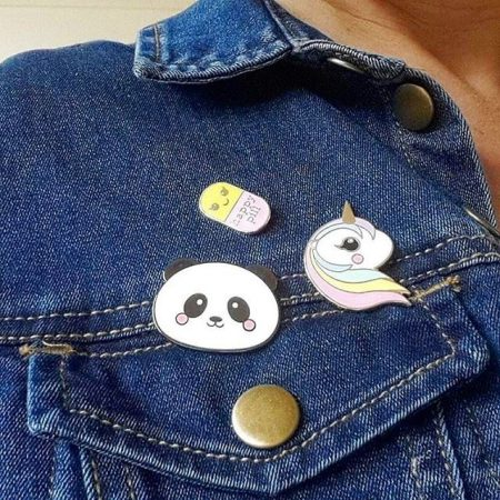 cute panda chill pill and pastel unicorn pin