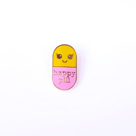 PIN HAPPY PILL GEEL/ROZE