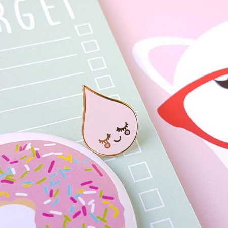 raindrop pink cute enamel pin