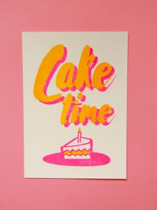 cake time neon riso card