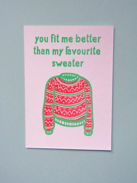 POSTKAART YOU FIT ME BETTER THAN MY FAVOURITE SWEATER