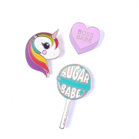enamel pin lollipop converation heart unicorn
