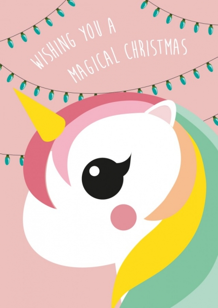 POSTKAART WISHING YOU A MAGICAL CHRISTMAS EENHOORN