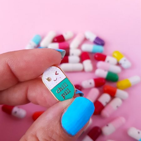 PIN CHILL PILL MINT GLITTER