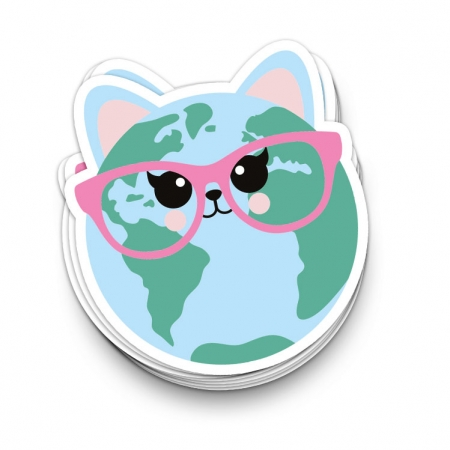 STICKER CAT WORLD 10 cm