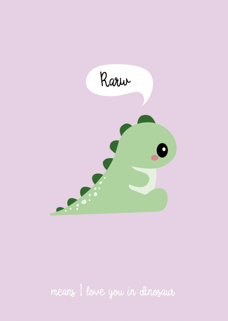 POSTKAART RARW DINOSAUR means I love you in dinosaur
