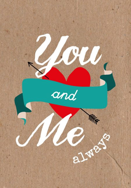 Studio inktvis Valentijn postkaart You and me always VAL003