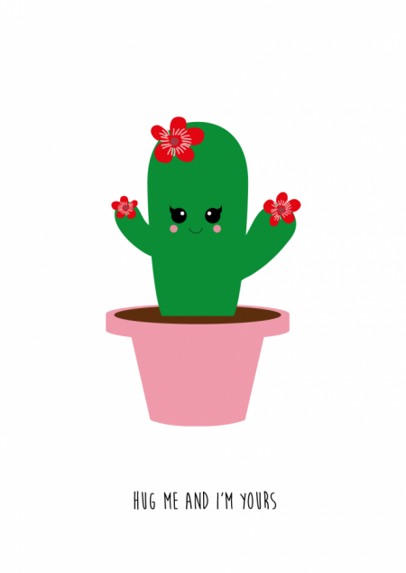 POSTKAART HUG ME CACTUS