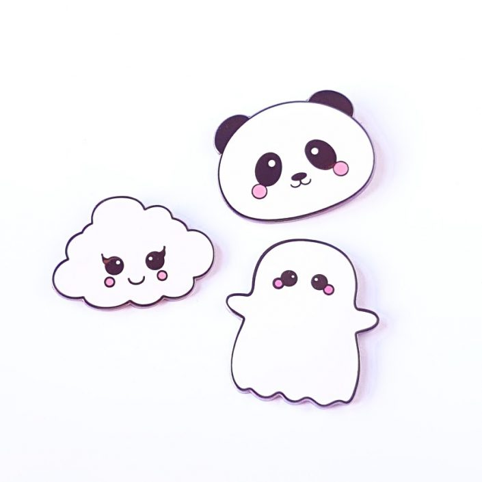 cloud panda ghost kawaai pin