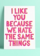 POSTKAART I LIKE YOU BECAUSE WE HATE THE SAME THINGS