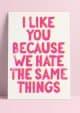POSTKAART I LIKE YOU BECAUSE WE HATE THE SAME THINGS