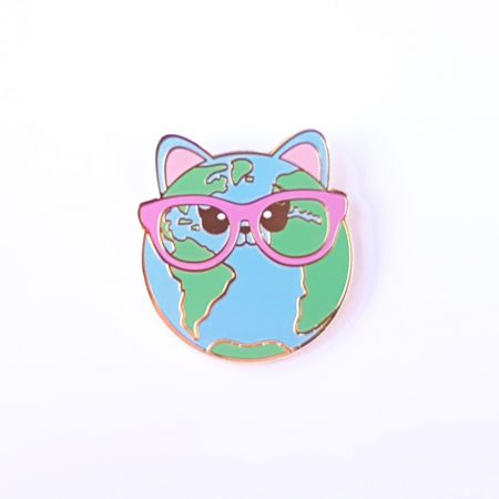PIN CAT WORLD roze bril