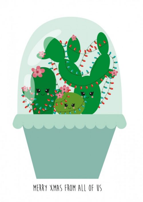 POSTKAART MERRY XMAS FROM ALL OF US STOLP CACTUS