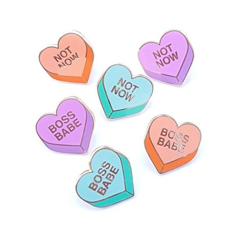 Conversation hearts enamel pin