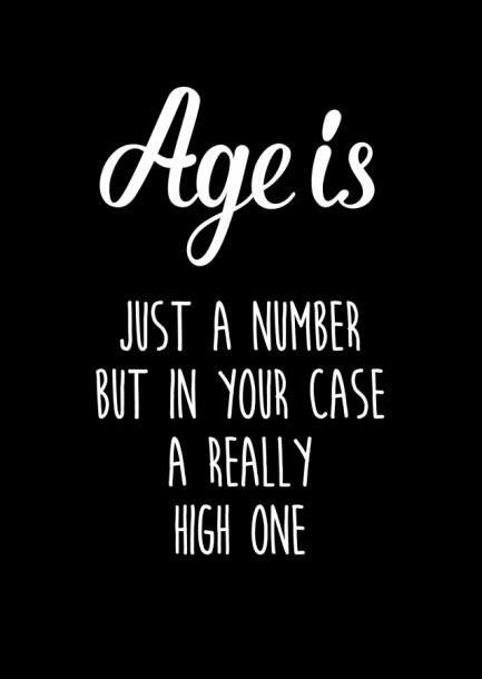 POSTKAART AGE IS JUST A NUMBER ZWART