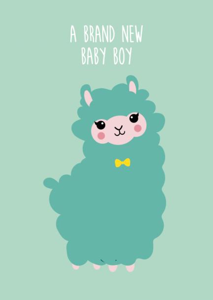 POSTKAART BRAND NEW BABY BOY ALPACA