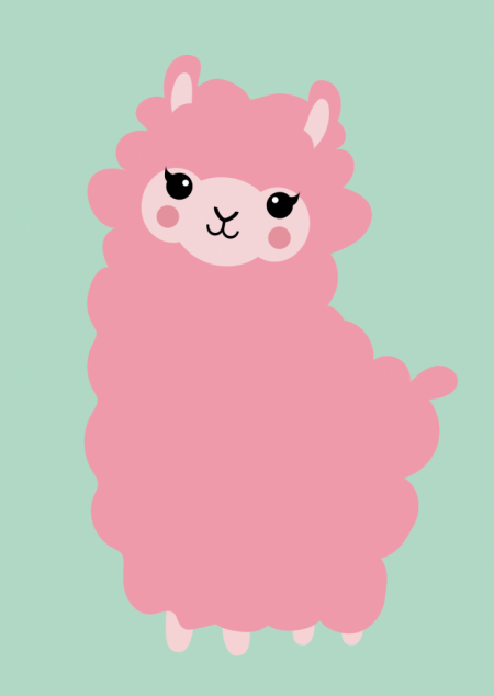 POSTKAART ALPACA ROZE