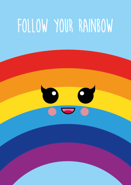 POSTKAART FOLOW YOUR RAINBOW
