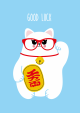 POSTKAART GOOD LUCK MET MANEKI NEKO