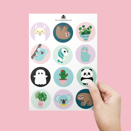 STICKERVEL A5 12 STICKERS PILEA KOALA LAMA