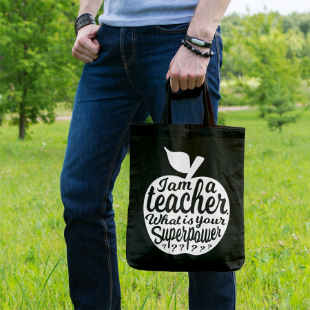 TAS I AM A TEACHER ZWART is een leuk kado voor iedere leraar