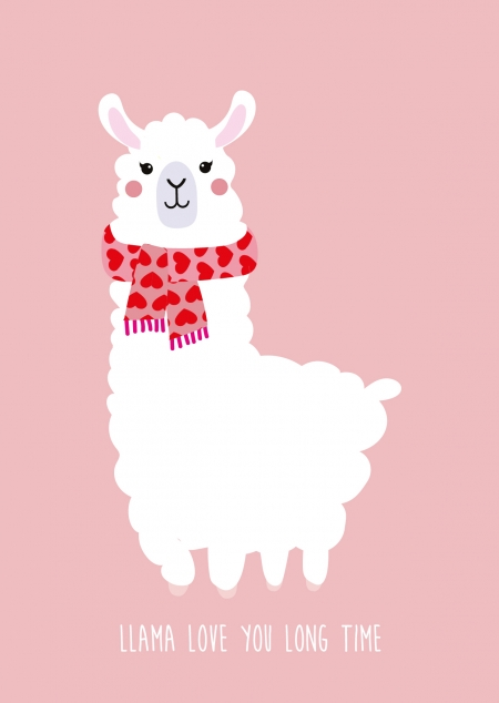 POSTKAART LLAMA LOVES YOU LONG TIME