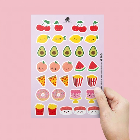 STICKERVEL A5 32 STICKERS SUSHI FRUIT EN FAST FOOD