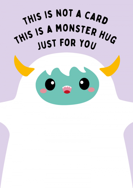 POSTKAART MONSTER HUG
